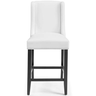 Baron 42 in. Faux Leather Counter Stool in White