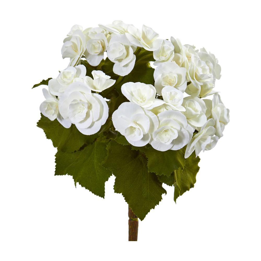 Indoor 11 Begonia Bush Artificial Flower (Set of 4)