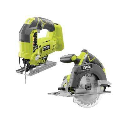 18-Volt ONE+ Lithium-Ion Cordless 6-1/2 in. Circular Saw and Orbital Jig Saw (Tools Only)