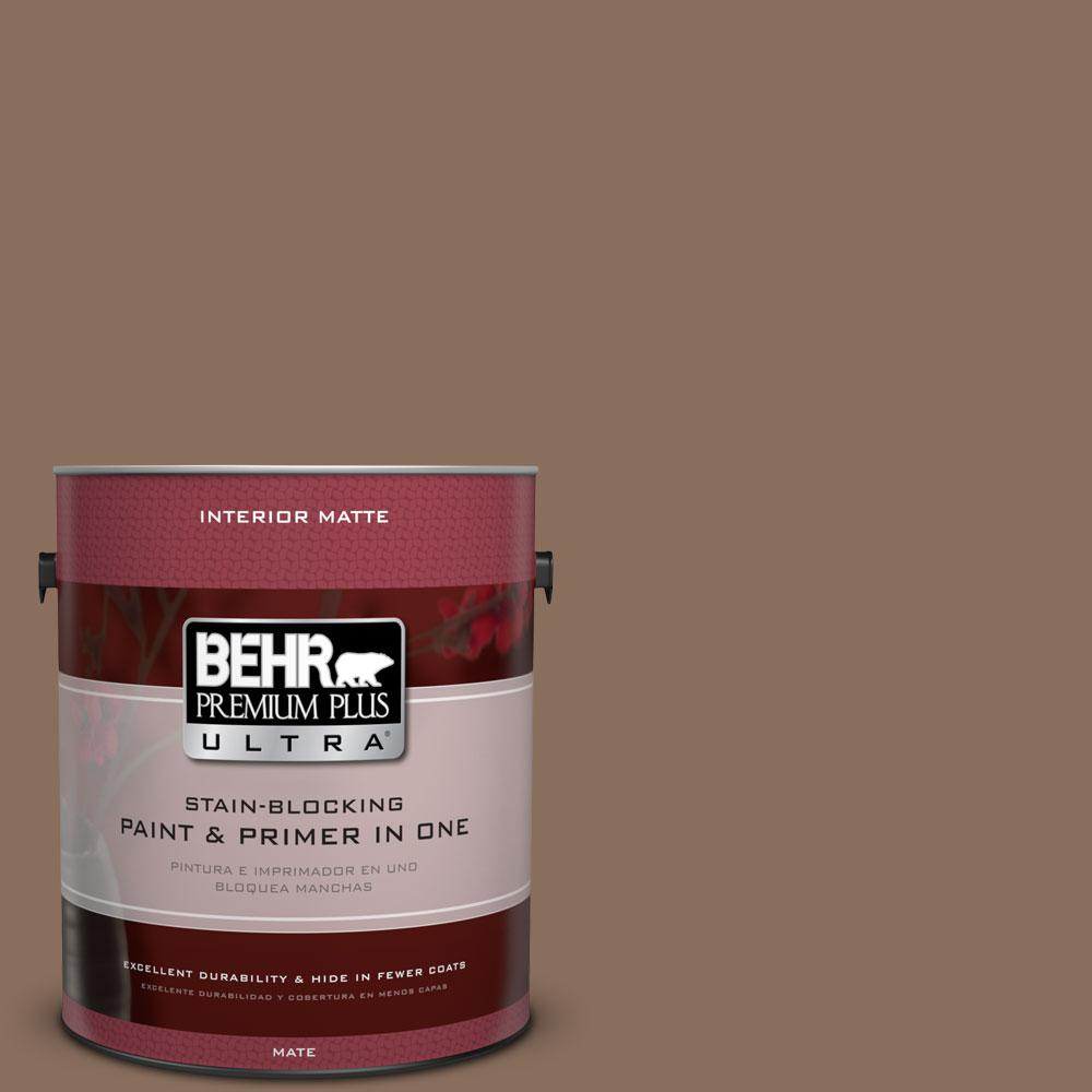 1 gal. #N190-6 Nut Brown Matte Interior Paint and Primer in