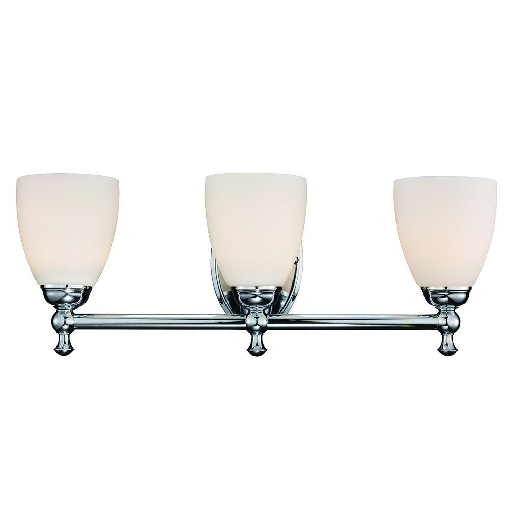 Hampton Bay 3-Light Polished Chrome Vanity Light with Opal Glass ...