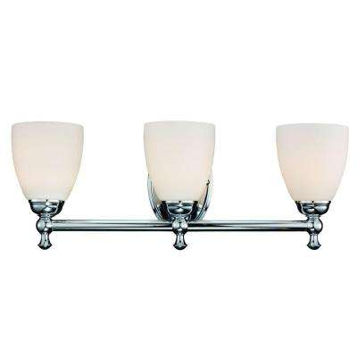 3-Light Polished Chrome Vanity Light with Opal Glass Shades