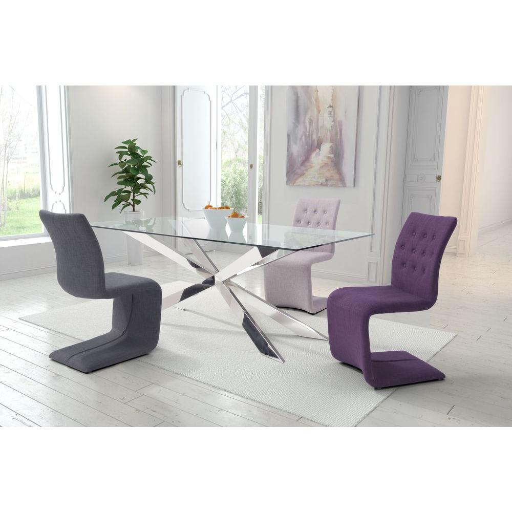 Zuo Hyper Dark Gray Polyblend Dining Chair Set Of 2