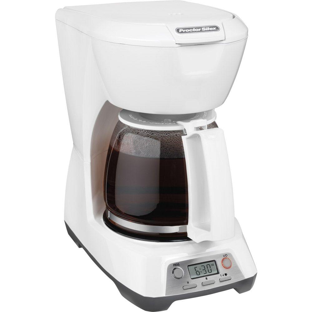 Proctor Silex 12-Cup Programmable Coffeemaker in White-DISCONTINUED