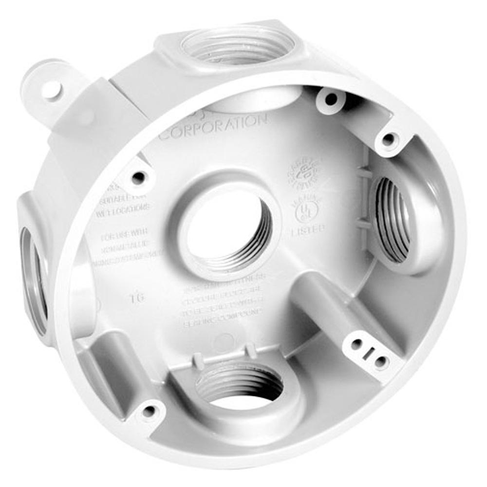 BELL 4 in. Round Weatherproof Box with Five 1/2 in. or 3/4 in. Outlets