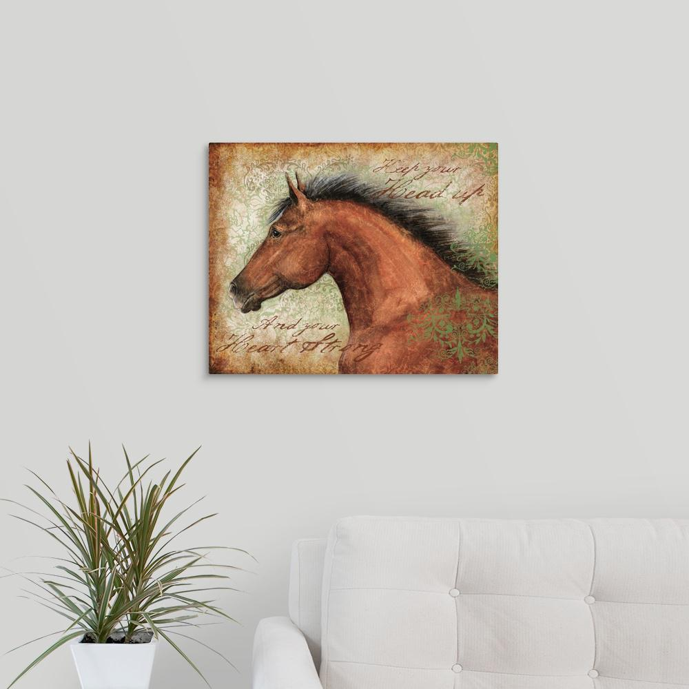 """Brown Horse with Black Mane"" by Susan Winget Canvas Wall Art"