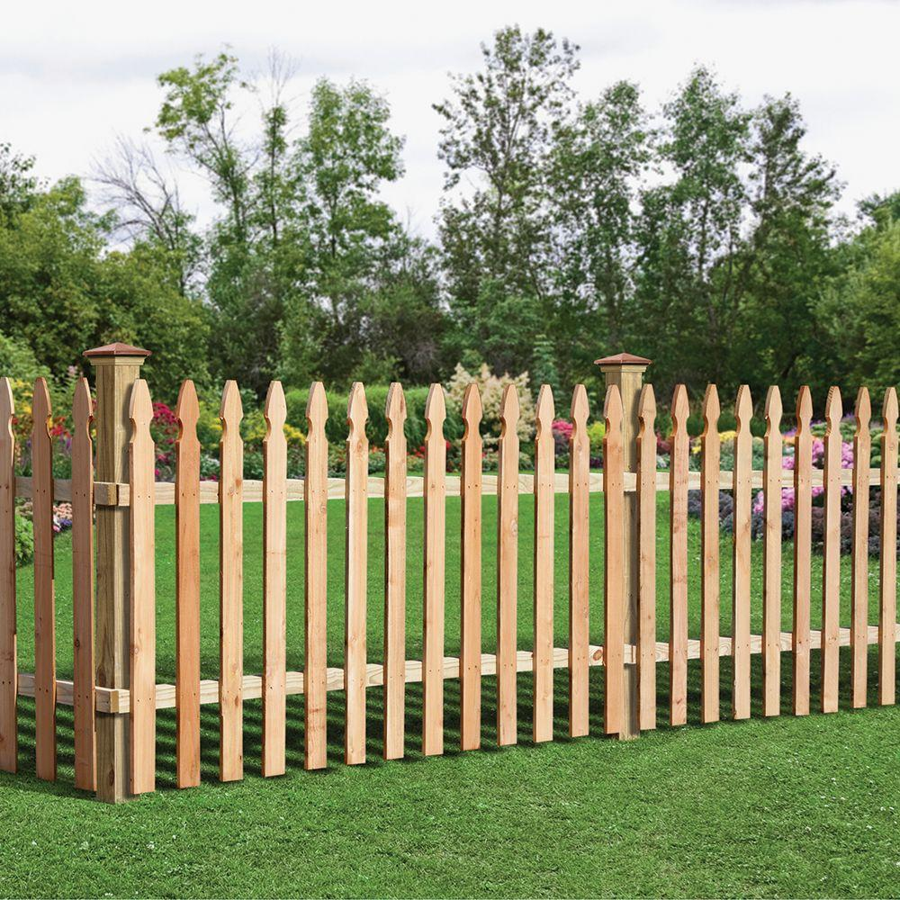 3 12 Ft H X 8 Ft W Cedar Spaced French Gothic Fence Panel