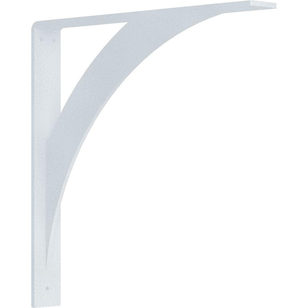 2 in. x 16 in. x 16 in. Steel Hammered White