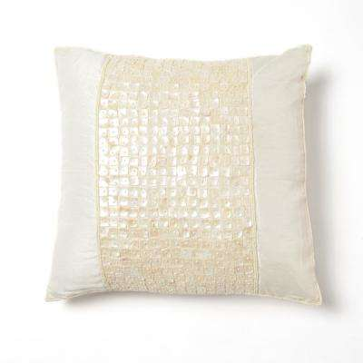 Faux Silk Mother of Pearl Ivory Pillow