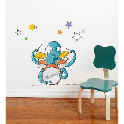 """20 in x 24 in. Multi-Color """"Drum and Bath"""" Kids Wall Decal"""