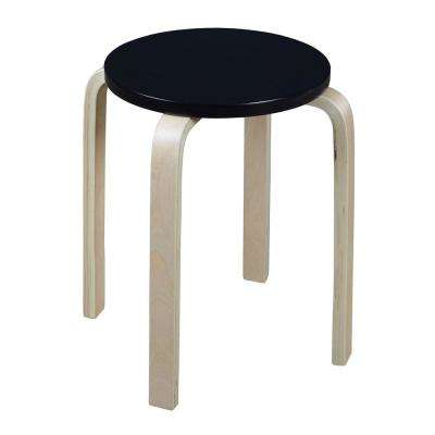 Baha 18 in. Natural/Black Bentwood Accent Stool