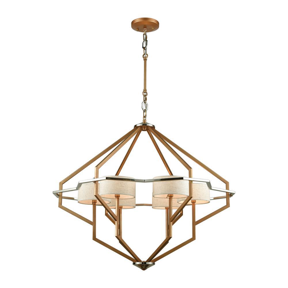 Titan Lighting Warrenton 6-Light Matte Gold With Polished