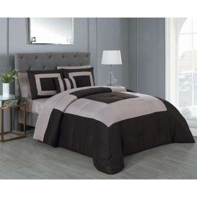 Carson 8-Piece Brown and Taupe King Comforter Set