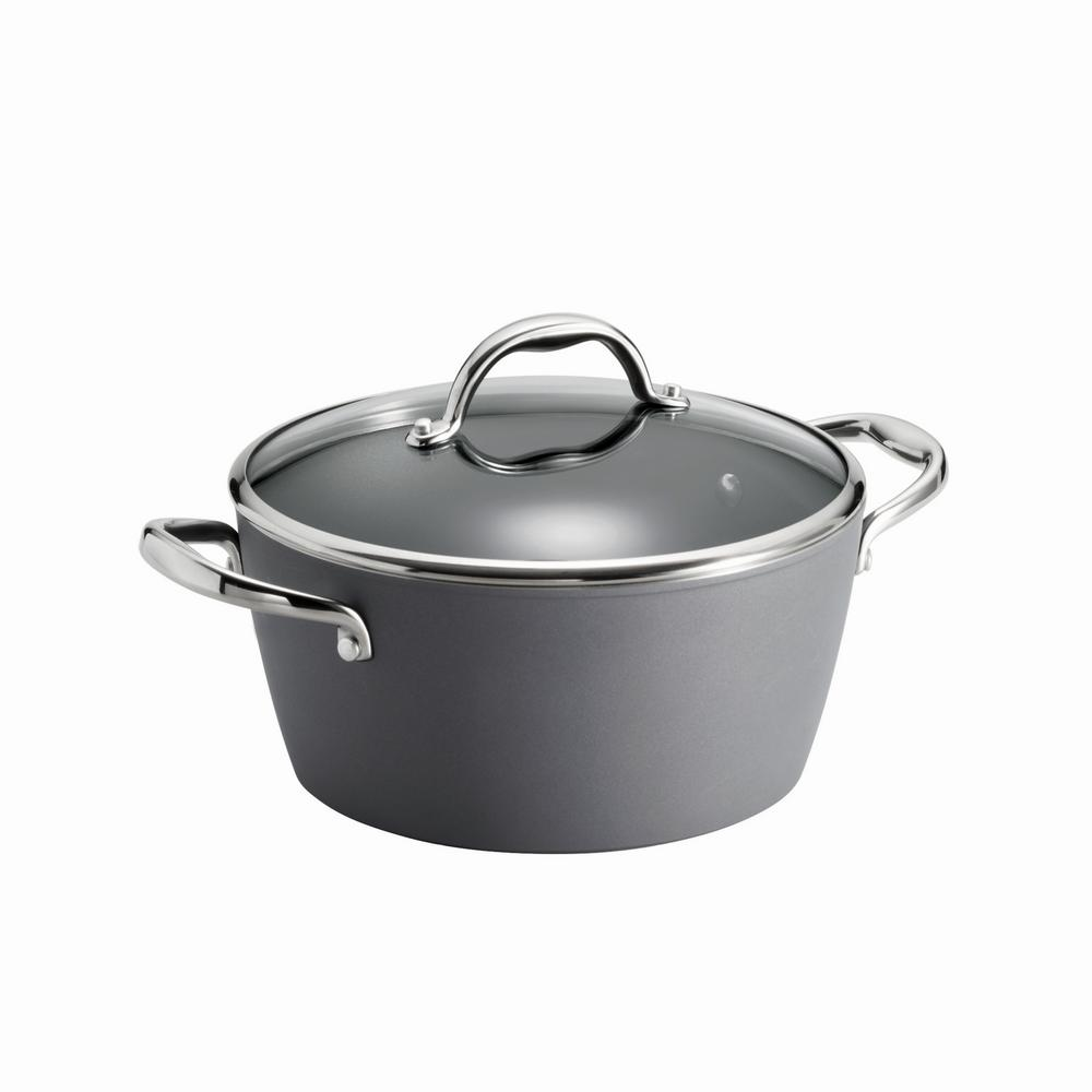 Gourmet 5 Qt. Induction Aluminum Dutch Oven with Lid in Slate