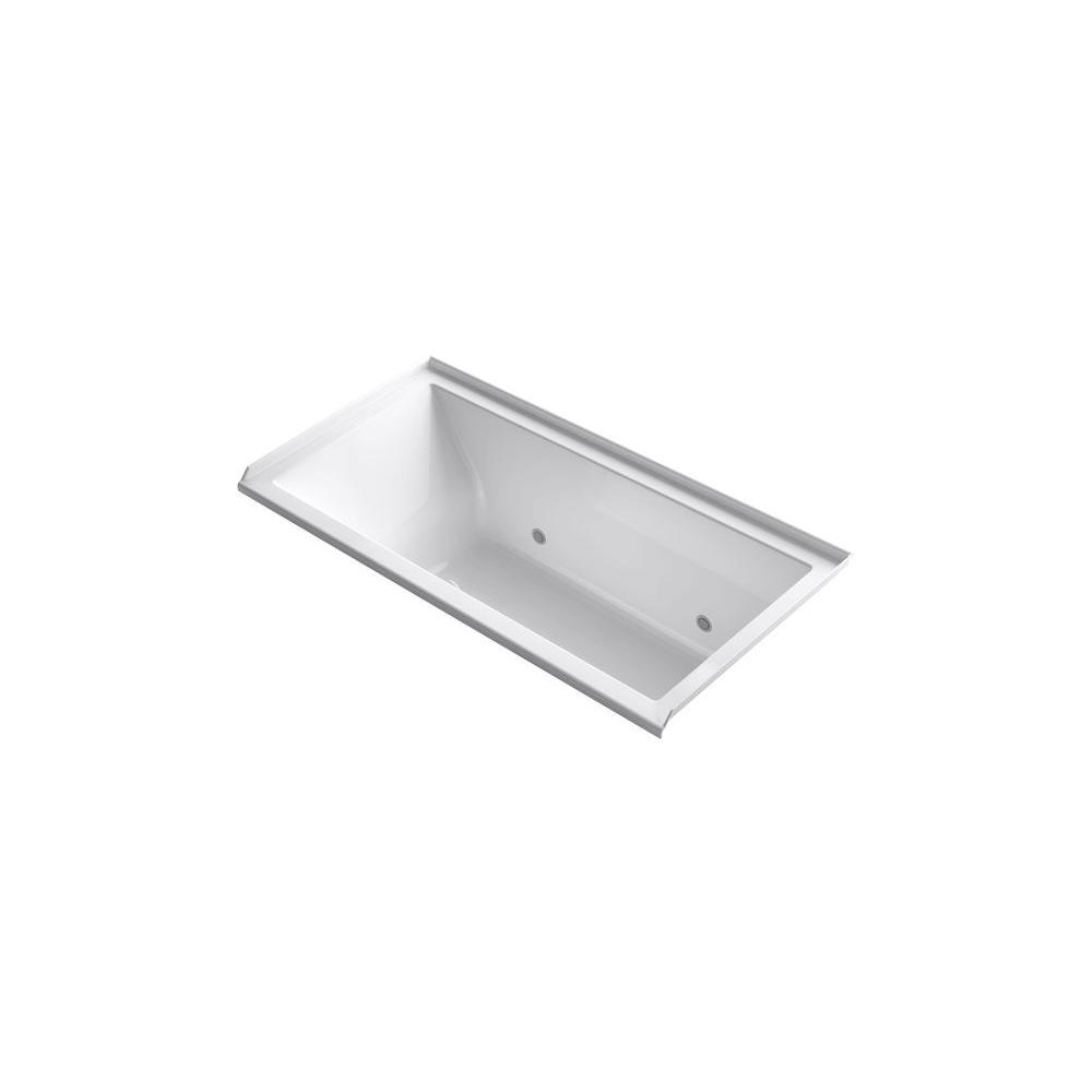 KOHLER Underscore 5 ft. Rectangle Right Drain Soaking Tub in Almond