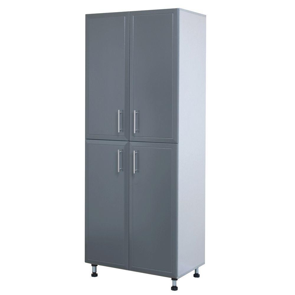 ProGarage 4 Door Laminated Storage Cabinet in Gray