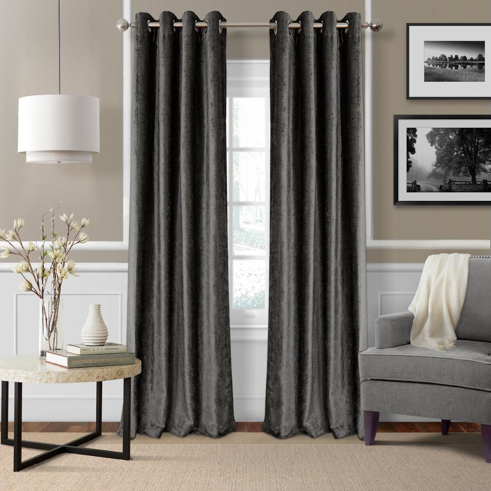 Blackout Victoria Smoke Blackout Grommet Window Curtain Panel - 52 inch W x 84 inch L by
