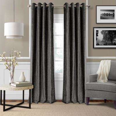 Blackout Victoria Smoke Blackout Grommet Window Curtain Panel - 52 in. W x 95 in. L
