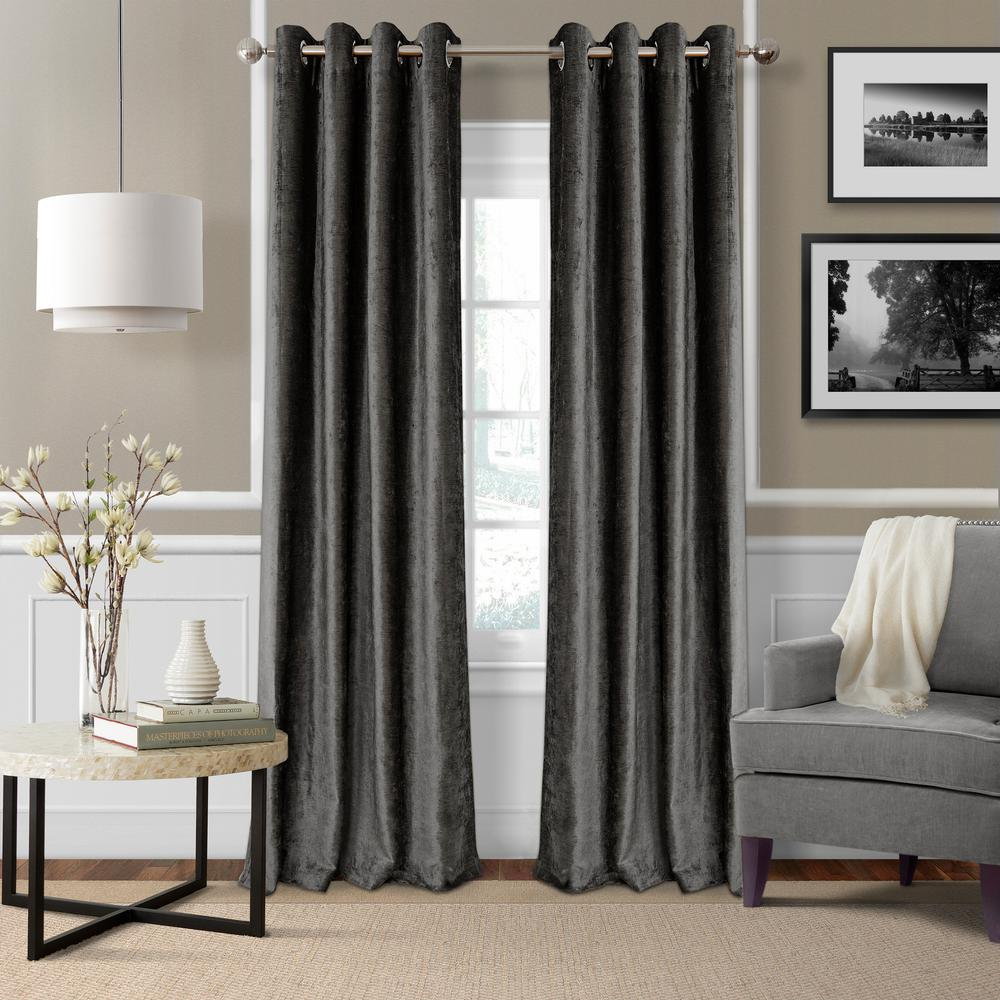 Blackout Victoria Smoke Blackout Grommet Window Curtain Panel - 52 in.