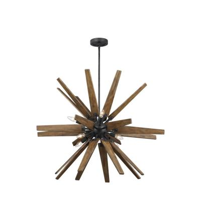 Thorne 8-Light Dark Weathered Zinc and Weathered Oak Chandelier
