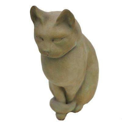 Cast Stone Classic Sitting Cat Garden Statue Weathered Bronze