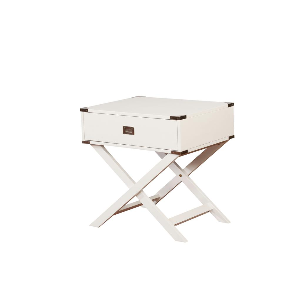 Sara X-Base White Accent Table