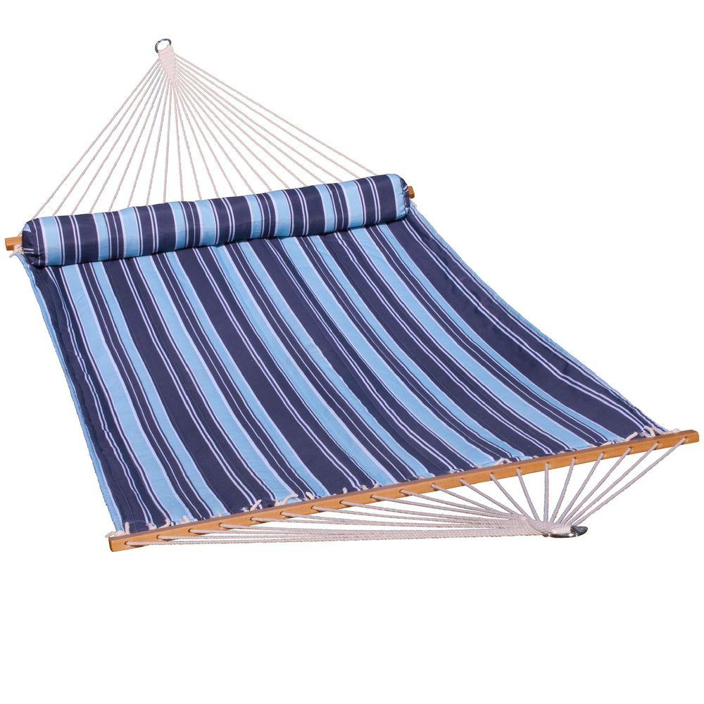 algoma 13 ft  quilted reversible hammock in blue stripe with matching pillow 2932dl   the home depot algoma 13 ft  quilted reversible hammock in blue stripe with      rh   homedepot