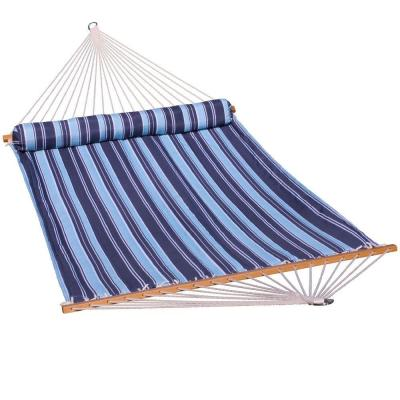 13 ft. Quilted Reversible Hammock in Blue Stripe with Matching Pillow