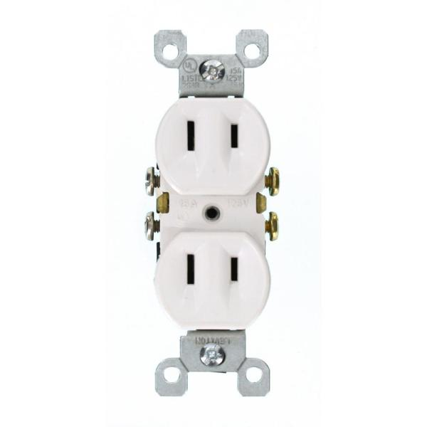 15 Amp 2-Wire Duplex Outlet, White