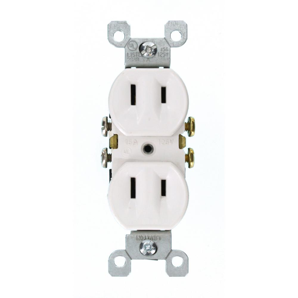 Leviton 15 Amp 2 Wire Duplex Outlet White 223 W The Home Depot Prong Vs 3 Outlets
