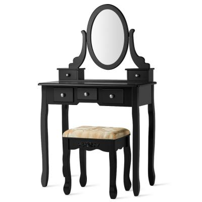 5-Drawer Vanity Table Set Dressing Table Set Make Up Table and Stool Set Black