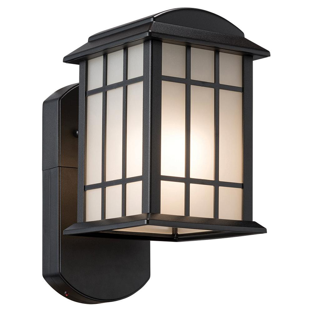 Motion Sensing Outdoor Wall Mounted Lighting An Light Fixture Wiring In Addition Led Smart Security Companion Textured Black Metal And Glass