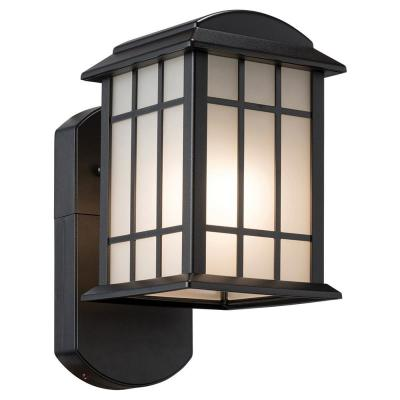 Smart Security Companion Textured Black Metal and Glass Outdoor Wall Lantern Sconce