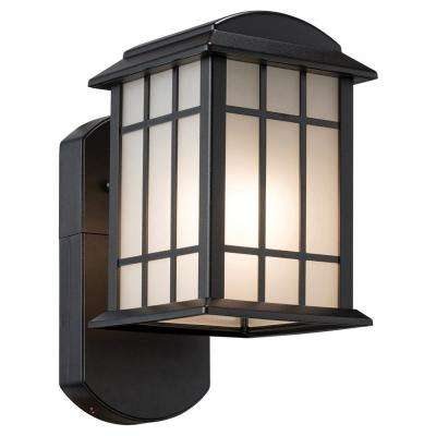 Smart Security Companion Textured Black Metal and Glass Outdoor Wall Lantern