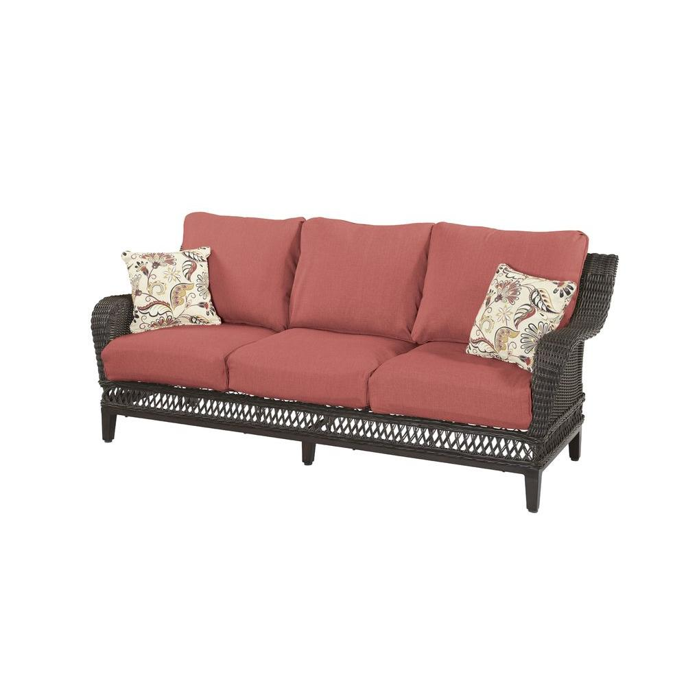 Hampton Bay Woodbury Wicker Outdoor Patio Sofa with Chili Cushion