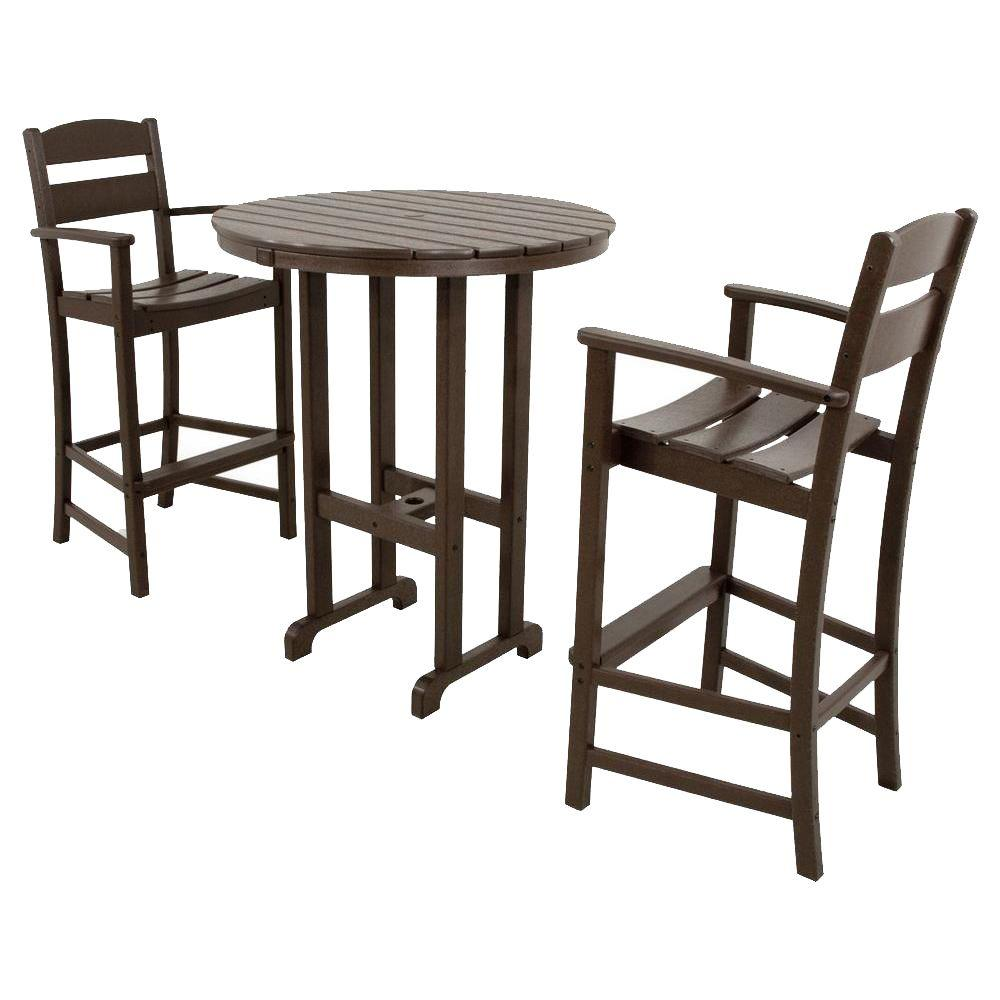 Ivy Terrace Classics Mahogany 3 Piece Plastic Outdoor Patio Bar Set