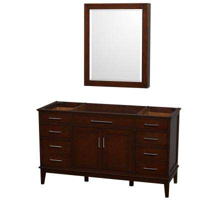 Hatton 59 in. Vanity Cabinet with Mirror Medicine Cabinet in Dark Chestnut