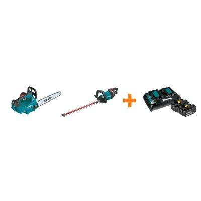18V X2 LXT Electric 16 in. Top Handle Chain Saw and 18V LXT 24 in. Hedge Trimmer with bonus 18V LXT Starter Pack