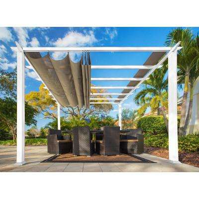 Paragon 11 ft. x 11 ft. White Aluminum Pergola with Sand Color Convertible Canopy Top