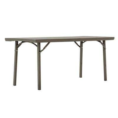 Commercial Heavy Duty 6 ft. Folding Table with Built in Ganging Clip and End of Table Seating in Brown