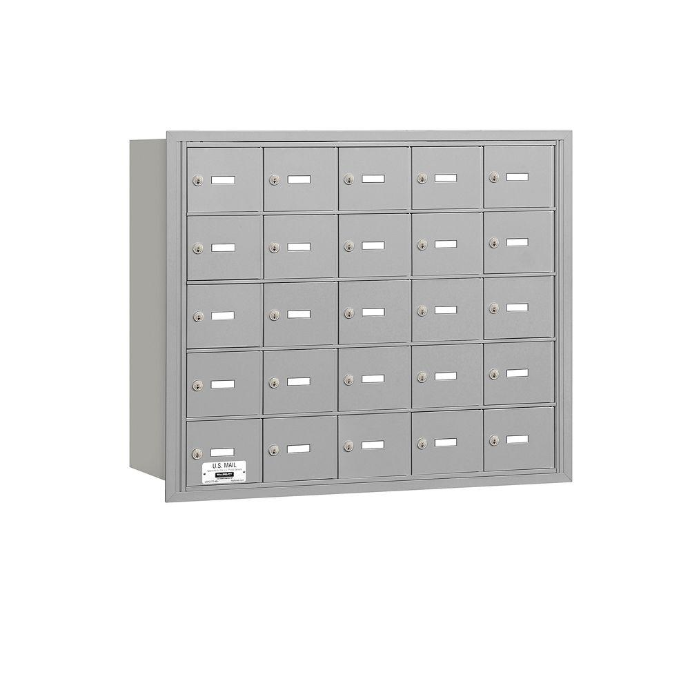 Salsbury Industries 3600 Series Aluminum Private Rear Loading 4B Plus Horizontal Mailbox with 25A Doors