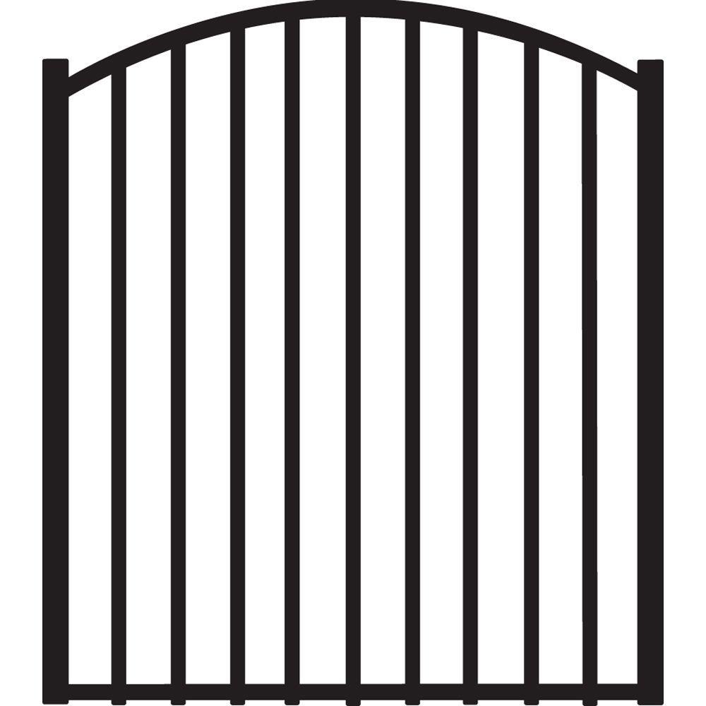 Beechmont 4 ft. W x 4 ft. H Black Heavy-Duty Aluminum Arched Pre-Assembled Fence Gate