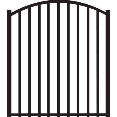 Beechmont 4 ft. W x 4 ft. H Black Heavy-Duty Aluminum Arched Pre-Assembled Fence Gate