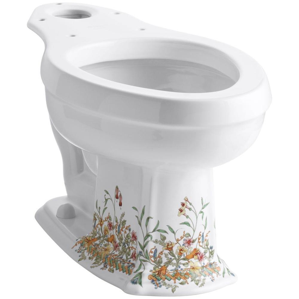 KOHLER Portrait Toilet Bowl Only with English Trellis Design in White