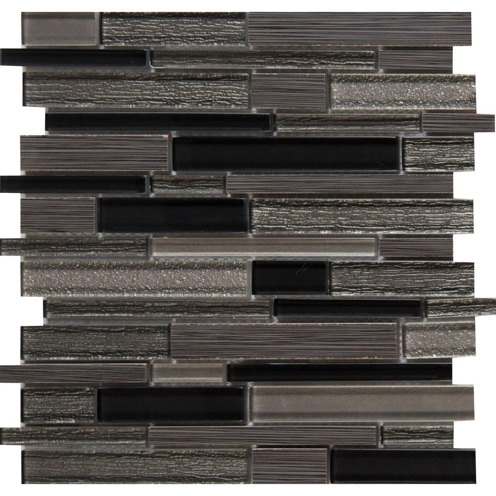 MSI Metro Gris Interlocking 12 in. x 12 in. x 8 mm Glass Stone Mesh-Mounted Mosaic Tile (10 sq. ft./case)