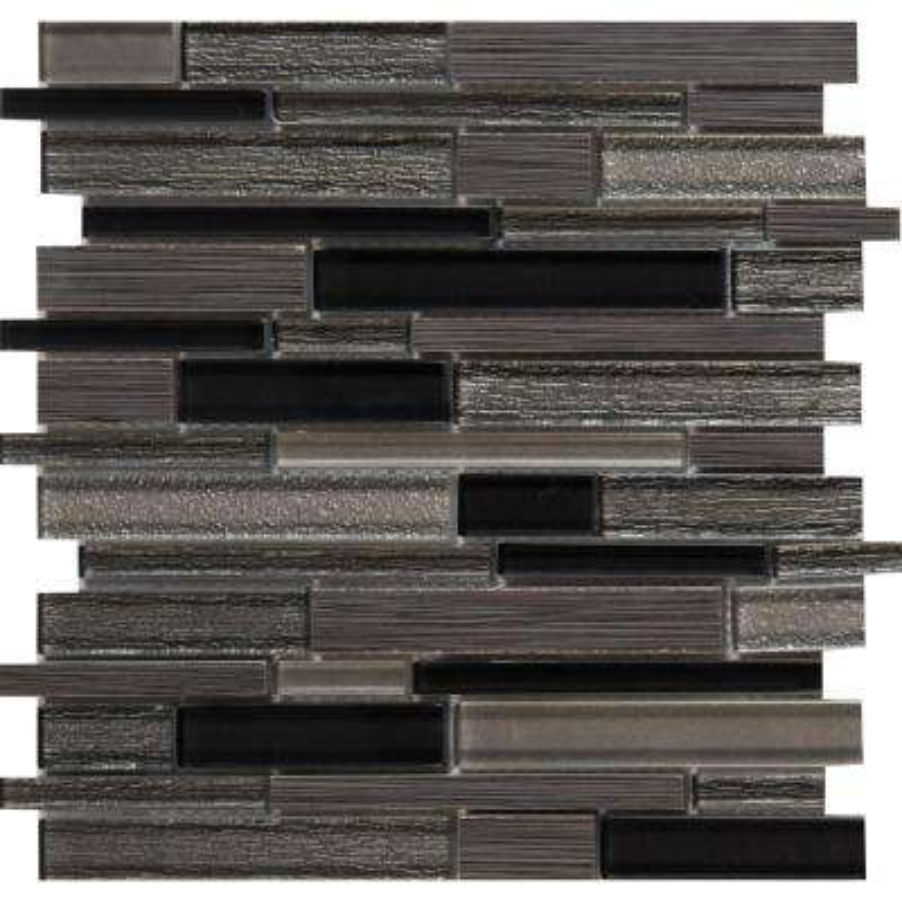 Metro Gris Interlocking 12 in. x 12 in. x 8mm Glass Stone Mesh-Mounted Mosaic Tile (10 sq. ft. / case)