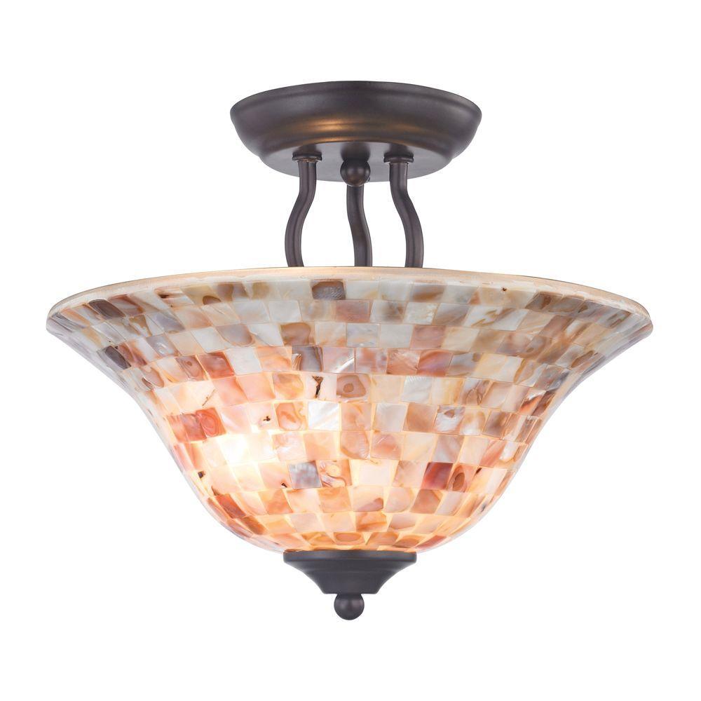 Titan Lighting 2-Light Ceiling Oil Rubbed Bronze Semi-Flush Mount