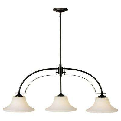 Barrington 44 in. W. 3-Light Oil Rubbed Bronze Billiard Island Chandelier with Opal Etched Glass Shades