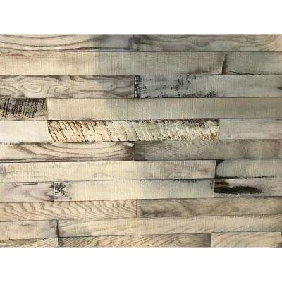 Shiplap Plank 0.5 in. H x 3.5 in. W x 1 ft. - 3 ft. L Whitewash Wood Wall Planks (20 sq. ft. / case)