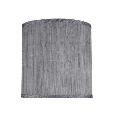 10 in. x 10 in. Grey and Black and Striped Pattern Hardback Drum/Cylinder Lamp Shade